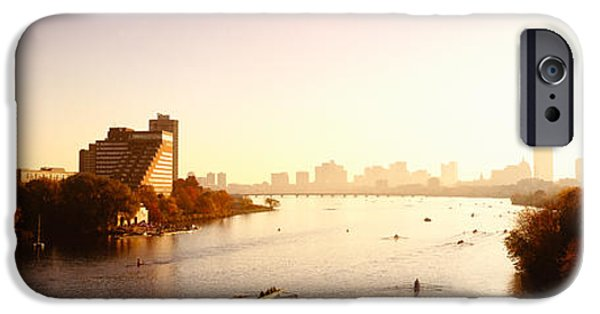 Charles River iPhone Cases - Boats In The River With Cityscape iPhone Case by Panoramic Images