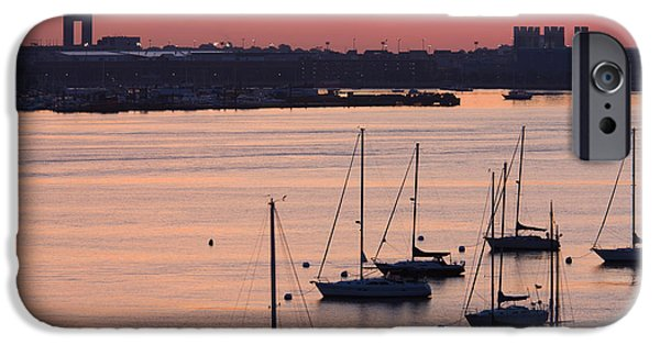 Boston iPhone Cases - Boats In The Sea, Logan International iPhone Case by Panoramic Images