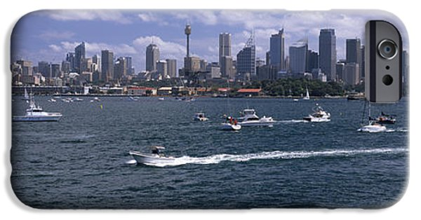 Built Structure iPhone Cases - Boats In The Sea, Sydney Harbor iPhone Case by Panoramic Images
