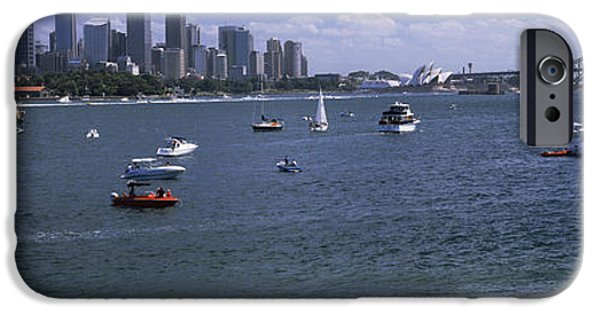 Built Structure iPhone Cases - Boats In The Sea With A Bridge iPhone Case by Panoramic Images