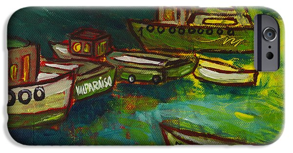 Fischer Boat iPhone Cases - Boats in Valparaiso iPhone Case by Rafael Fischer