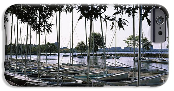 Charles River iPhone Cases - Boats Moored At A Dock, Charles River iPhone Case by Panoramic Images