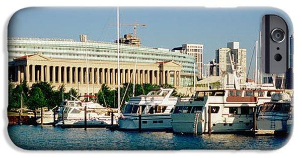Soldier Field Photographs iPhone Cases - Boats Moored At A Dock, Chicago iPhone Case by Panoramic Images