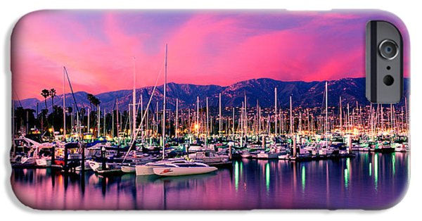 Santa iPhone Cases - Boats Moored In Harbor At Sunset, Santa iPhone Case by Panoramic Images