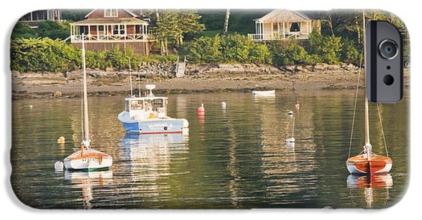 Scenic New England iPhone Cases - Boats Moored in Tenants Harbor Maine iPhone Case by Keith Webber Jr