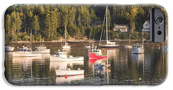 Sailboat Ocean iPhone Cases - Boats Moored inTenants Harbor Maine iPhone Case by Keith Webber Jr