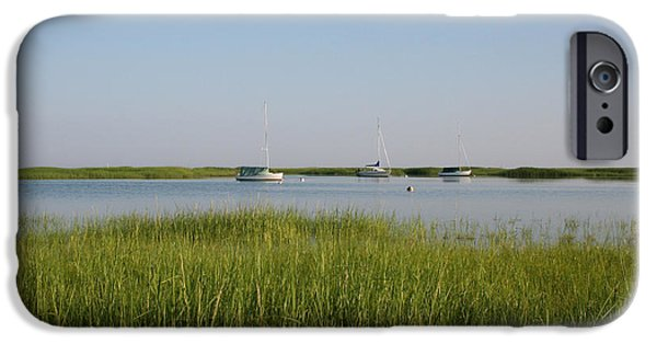 Chatham iPhone Cases - Boats on a calm bay.03 iPhone Case by John Turek