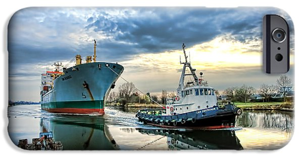 Waterway iPhone Cases - Boats on a Canal iPhone Case by Olivier Le Queinec