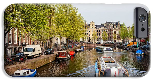 Boat Cruise iPhone Cases - Boats on Canal Tour in Amsterdam iPhone Case by Artur Bogacki