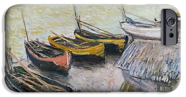 Sailboat Paintings iPhone Cases - Boats on the Beach iPhone Case by Claude Monet