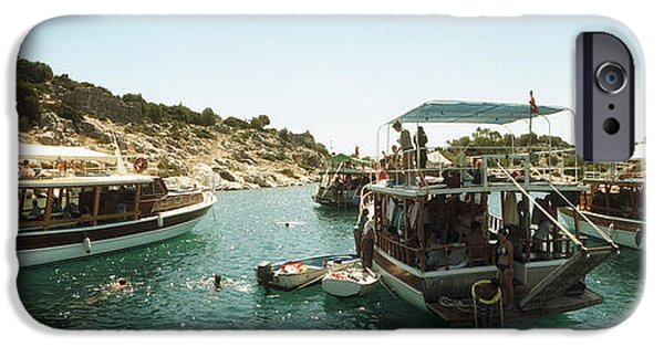 Patriotism iPhone Cases - Boats With People Swimming iPhone Case by Panoramic Images