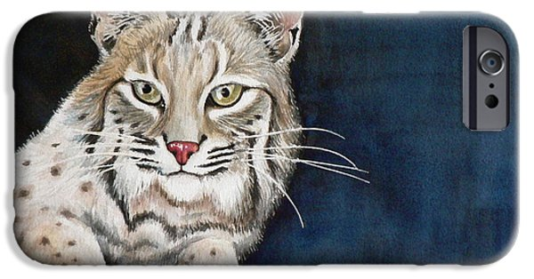Bobcats Paintings iPhone Cases - Bob iPhone Case by Catalina Rankin