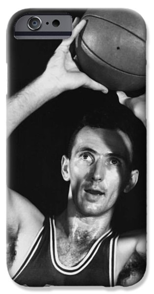 1950s Portraits iPhone Cases - Bob Cousy of the Boston Celtics 1950s iPhone Case by Mountain Dreams