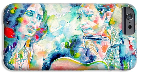 Bob Dylan Paintings iPhone Cases - BOB DYLAN and JOAN BAEZ watercolor PORTRAIT.2 iPhone Case by Fabrizio Cassetta