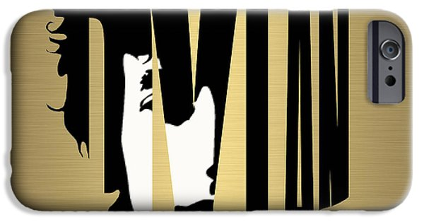 Gold iPhone Cases - Bob Dylan Gold iPhone Case by Marvin Blaine