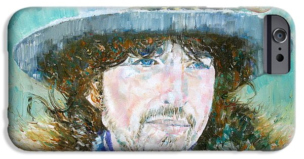 Bob Dylan Paintings iPhone Cases - Bob Dylan Oil Portrait iPhone Case by Fabrizio Cassetta