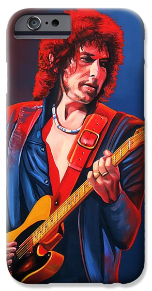 The Heavens Paintings iPhone Cases - Bob Dylan iPhone Case by Paul Meijering
