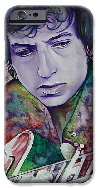 Bob Dylan-Pink and Green iPhone Case by Joshua Morton