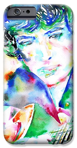Bob Dylan Paintings iPhone Cases - BOB DYLAN playing the GUITAR - WATERCOLOR PORTRAIT.2 iPhone Case by Fabrizio Cassetta