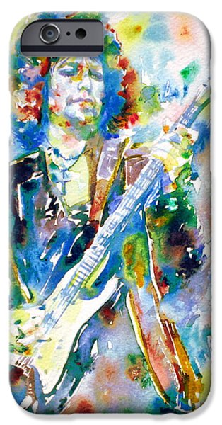 Bob Dylan Paintings iPhone Cases - BOB DYLAN playing the GUITAR - watercolor portrait.3 iPhone Case by Fabrizio Cassetta