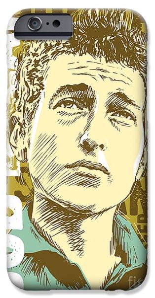 1960s iPhone Cases - Bob Dylan Pop Art iPhone Case by Jim Zahniser