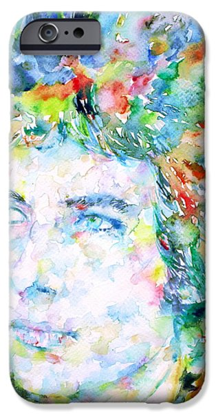 Bob Dylan Paintings iPhone Cases - Bob Dylan Watercolor Portrait.3 iPhone Case by Fabrizio Cassetta