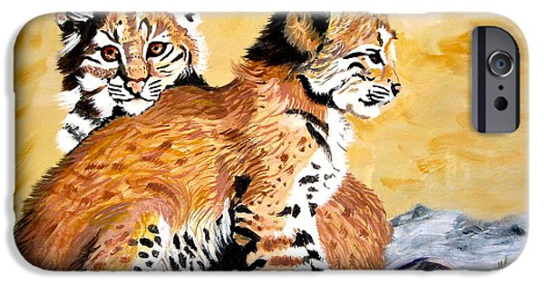 Bobcats Paintings iPhone Cases - Bob Kittens iPhone Case by Phyllis Kaltenbach