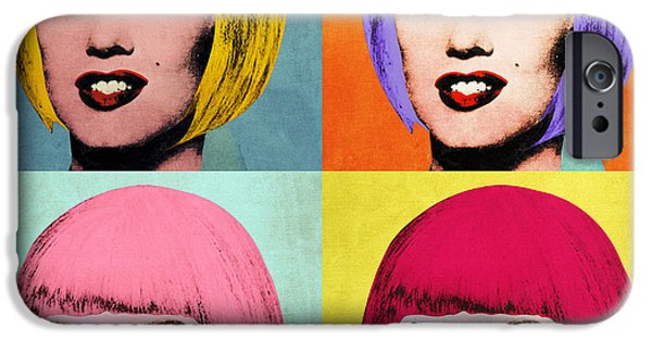 Hairstyle Digital iPhone Cases - Bob Marilyn  set of 4 iPhone Case by Filippo B