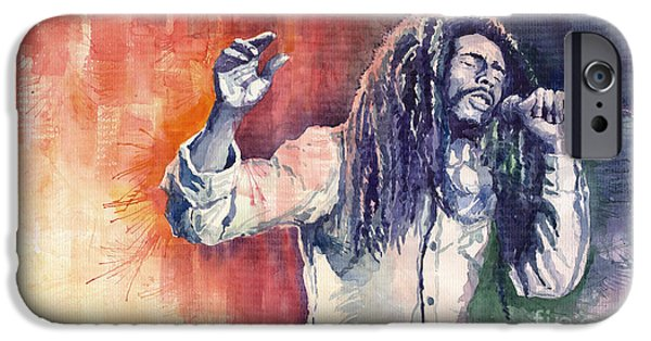 Watercolour Paintings iPhone Cases - Bob Marley 01 iPhone Case by Yuriy  Shevchuk