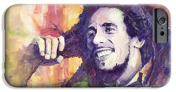 Watercolour Paintings iPhone Cases - Bob Marley 02 iPhone Case by Yuriy  Shevchuk