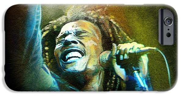 Jamaican Music iPhone Cases - Bob Marley 06 iPhone Case by Miki De Goodaboom