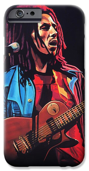 Idol Paintings iPhone Cases - Bob Marley Tuff Gong iPhone Case by Paul Meijering