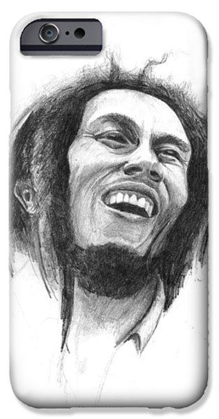 Reggae Music Art iPhone Cases - Bob Marley iPhone Case by Allan Swart