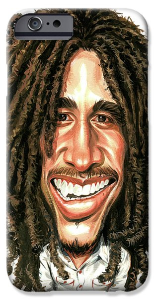 Jamaican Paintings iPhone Cases - Bob Marley iPhone Case by Art