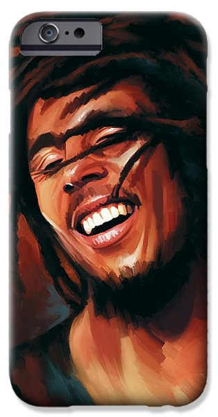 Bob Marley Portrait iPhone Cases - Bob Marley Artwork iPhone Case by Sheraz A