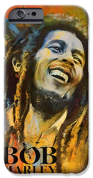 Crying Paintings iPhone Cases - Bob Marley iPhone Case by Corporate Art Task Force