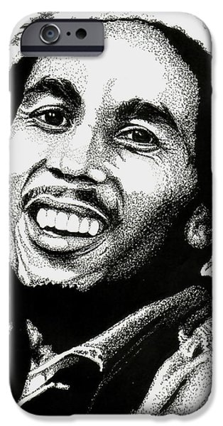 Music Drawings iPhone Cases - Bob Marley iPhone Case by Cory Still
