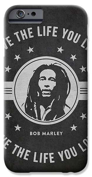 Autographed iPhone Cases - Bob Marley - Dark iPhone Case by Aged Pixel