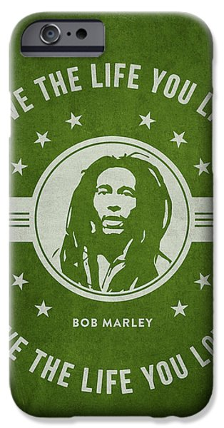 Autographed iPhone Cases - Bob Marley - Green iPhone Case by Aged Pixel