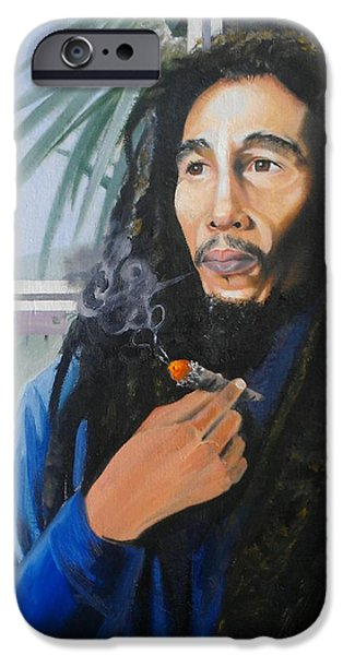 Mj Paintings iPhone Cases - Bob Marley Hay Days iPhone Case by Chuck Collins