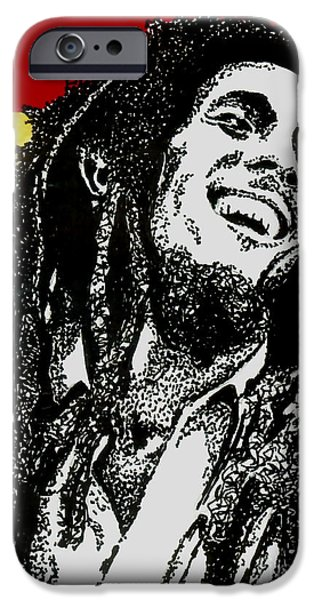 Music Drawings iPhone Cases - Bob Marley-Laughing iPhone Case by Cory Still