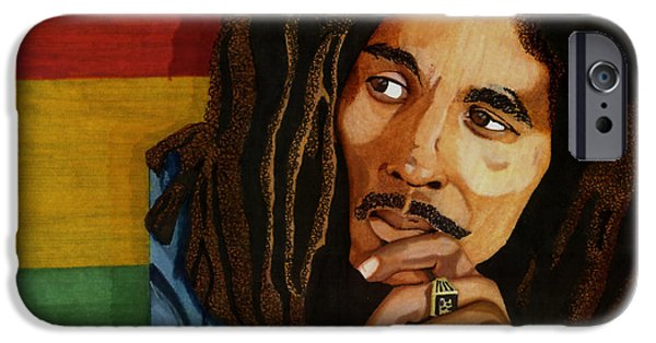 Music Drawings iPhone Cases - Bob Marley Legend iPhone Case by Cory Still