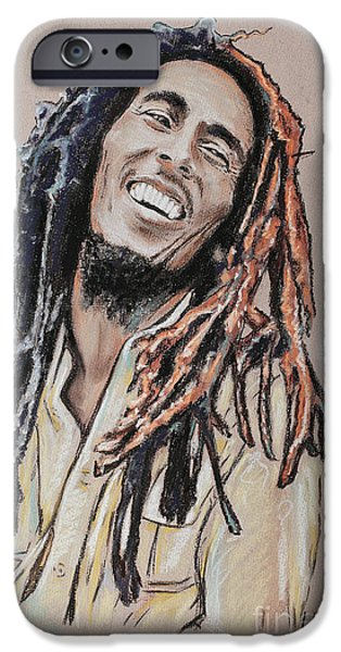 Celebrities Pastels iPhone Cases - Bob Marley iPhone Case by Melanie D