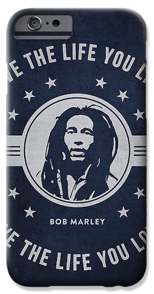 Autographed iPhone Cases - Bob Marley - Navy Blue iPhone Case by Aged Pixel