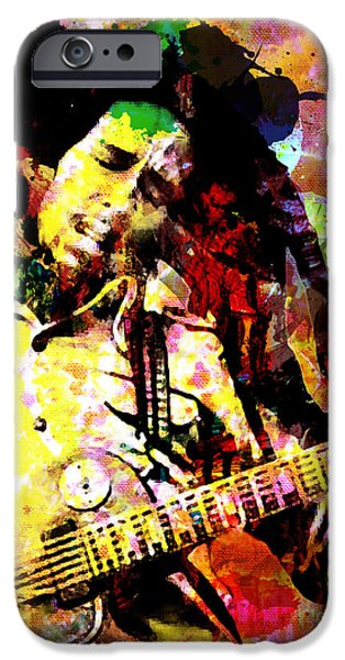 Reggae Music Art iPhone Cases - Bob Marley Original Painting Print iPhone Case by Ryan RockChromatic