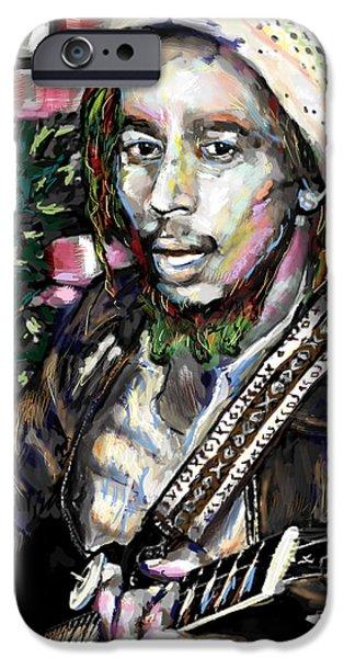Reggae Music Art iPhone Cases - Bob Marley Painting iPhone Case by Ryan RockChromatic