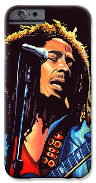 Celebrities Art iPhone Cases - Bob Marley iPhone Case by Paul Meijering