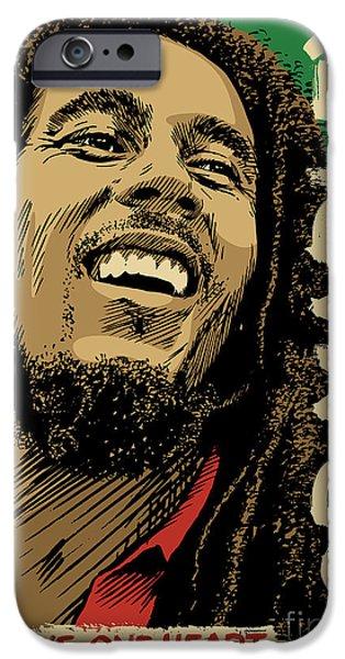 Reggae iPhone Cases - Bob Marley Pop Art iPhone Case by Jim Zahniser