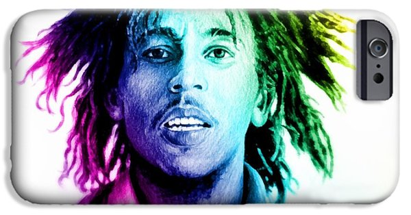 Colour Drawings iPhone Cases - Bob Marley  rainbow effect iPhone Case by Andrew Read