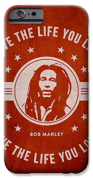 Autographed iPhone Cases - Bob Marley - Red iPhone Case by Aged Pixel